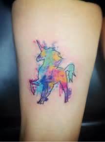 san diego tattoo artist unicorn watercolor tattoo on thigh tattoo com