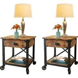 Antique Side Tables For Living Room Pair Rustic Country End Tables Antique Vintage Metal Wood Living Room Side Decor Ebay