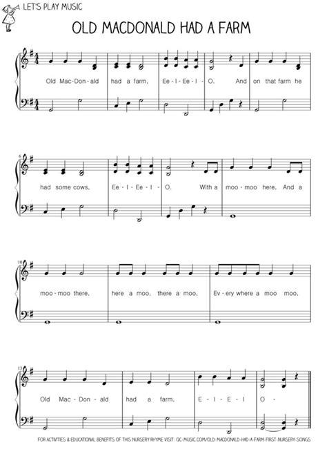 song piano macdonald had a farm nursery songs
