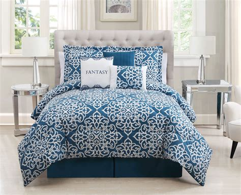 7 Piece King Fantasy Teal White Comforter Set