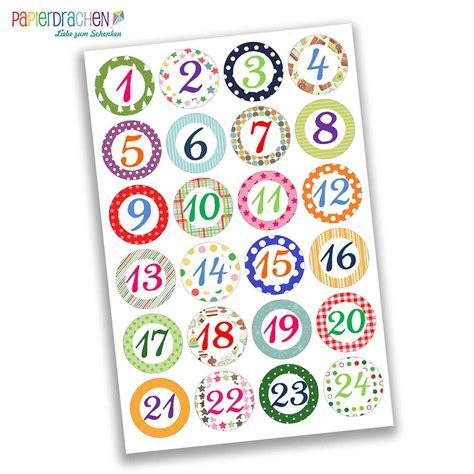 Aufkleber Zahlen by 24 Adventskalender Zahlen Sticker Bunte Zahlen Nr 03