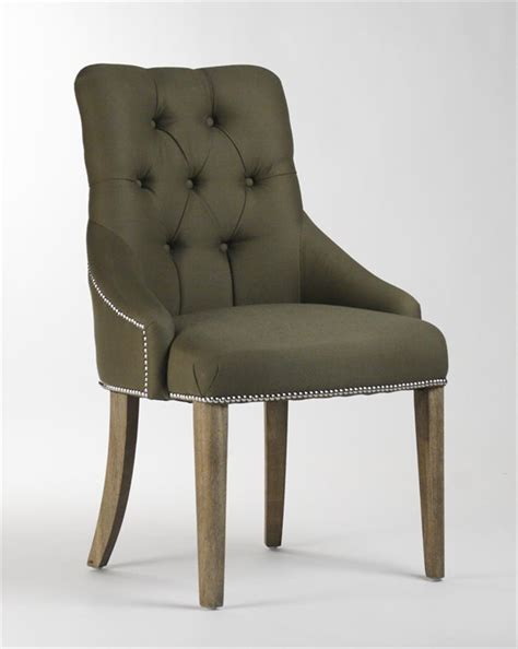 Nailhead Dining Chair Anneau Olive Linen Tufted Nailhead Vanity Dining Chair Kathy Kuo Home