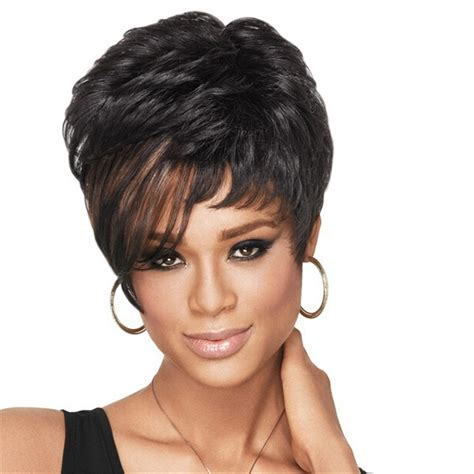 1980s hairstyle wig for black women natural wig african american short hairstyles wigs for
