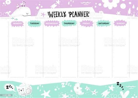 kids schedule design template weekly planner stock