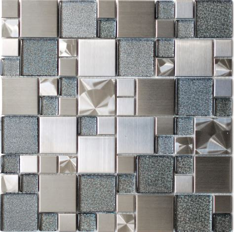Eden Mosaic Tile Modern Cobble Stainless Steel With Silver