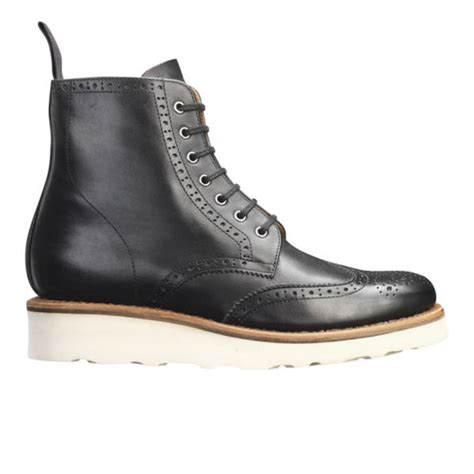 grenson s v brogue boots black free uk