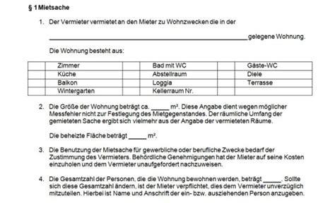 mustermietvertrag wohnung mietvertrag muster vorlage f 252 r wohnung oder haus