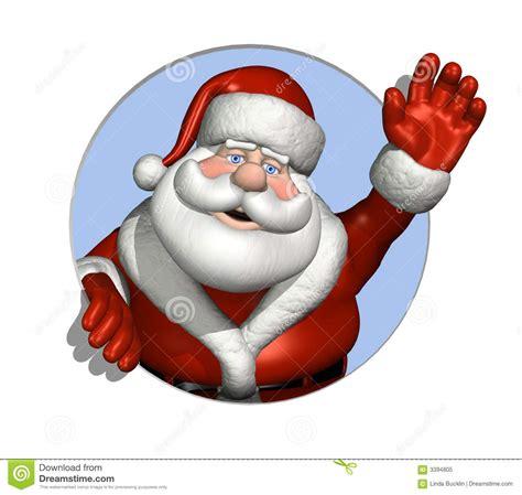 santa waving   circle royalty  stock photo image