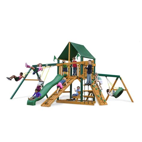 lowes wooden swing sets shop gorilla playsets frontier residential wood playset