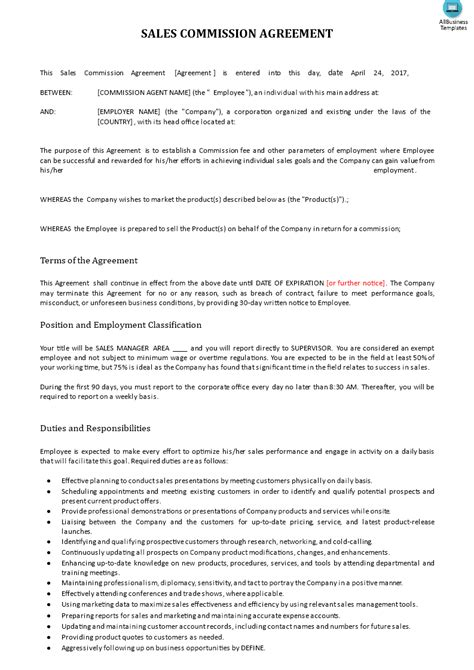 commission agreement template sales commission contract exle templates at