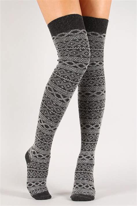high pattern socks pattern print knit thigh high socks awesome accessories
