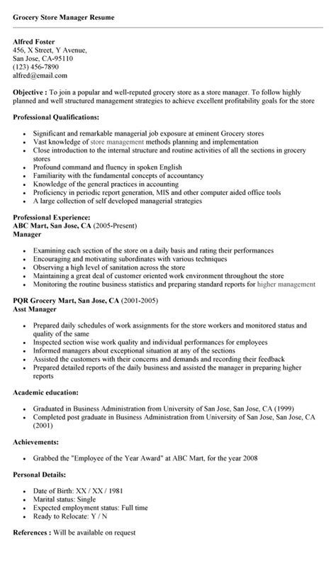 Resume Sles For Grocery Store Manager Resume Sle Sle To Write A Resume For Store Manager In Retail Resume Store Manager