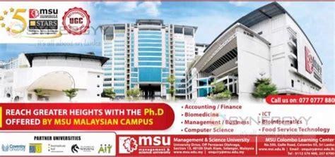 Mba Msu Malaysia by Ph D Education Synergyy