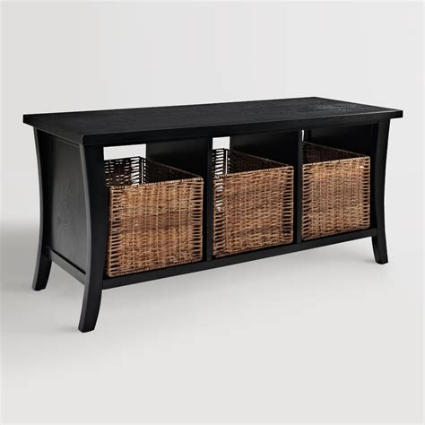 Storage Bench With Baskets Black Wood Cassia Entryway Storage Bench With Baskets World Market