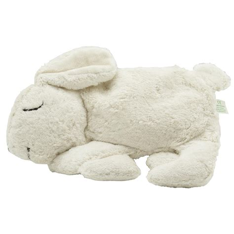 organic cotton bunny rabbit warming pillow white with