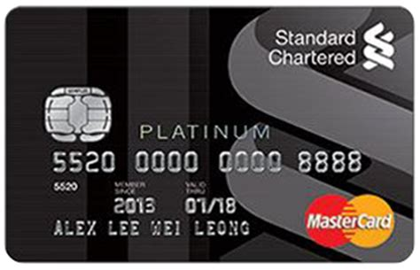standard chartered bank card standard chartered justone platinum mastercard credit card