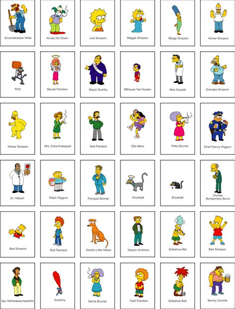list of characters the simpsons names list www pixshark com images