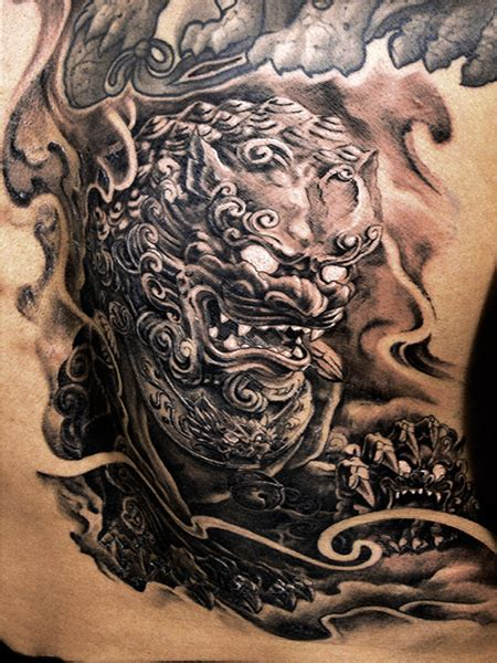 chinese lion tattoo guardian designs