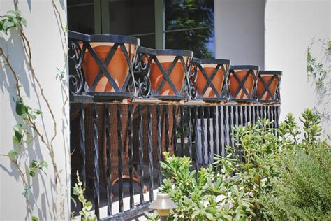 Planter Holder For Railing by Railing With Pot Holders Traditional Landscape