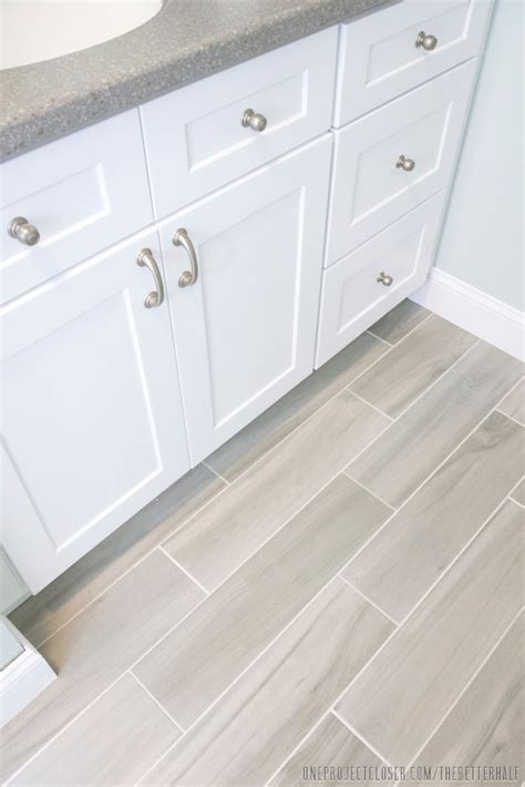 gray wood tile bathroom master bath remodel the big reveal one project closer