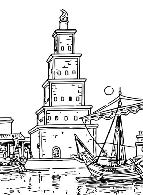 coloring pages of lighthouse of alexandria worldwonders lighthouse of alexandria coloring pages