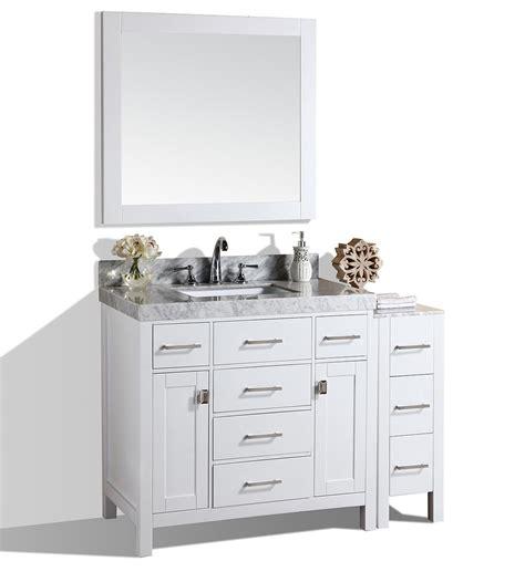 52 bathroom vanity cabinet 52 quot malibu white single modern bathroom vanity with side