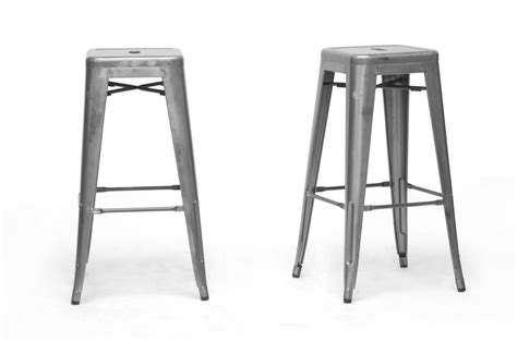architect gunmetal bar stool buy metal bar stools baxton studio french industrial modern bar stool in