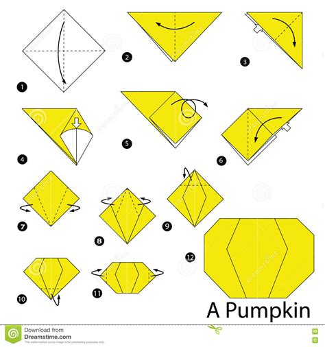 Origami Pumpkin - step by step how to make origami a pumpkin