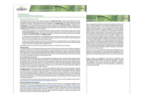 Vinyl Floor Warranty Cali Bamboo Greenshoots Blog Flooring Installation Warranty Template