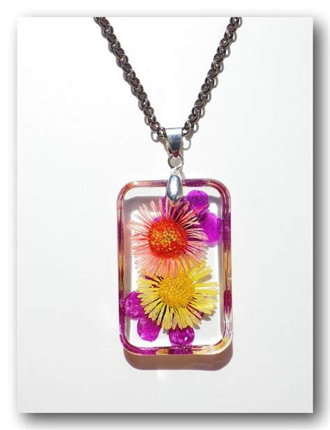 Handmade Resin Jewellery - handmade jewelry resin with dried flowercolorful by