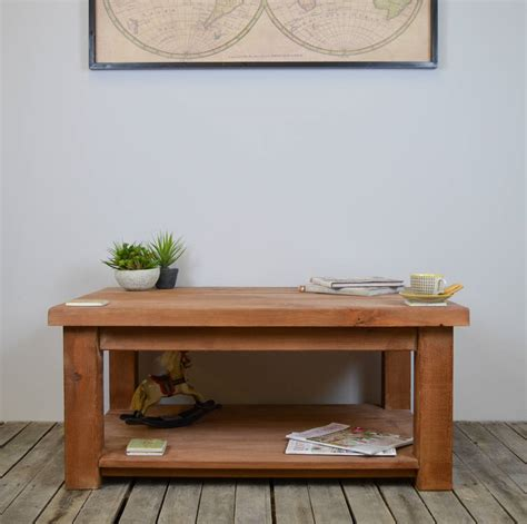 Wood Coffee Table With Shelf by Chunky Wood Coffee Table With Shelf By The Orchard