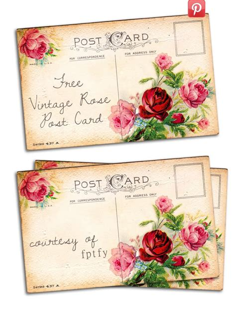 Aufkleber Blumenladen by Free Vintage Altered Art Romantic Rose Post Card