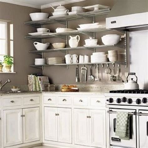 open stainless steel shelves in kitchen kitchen