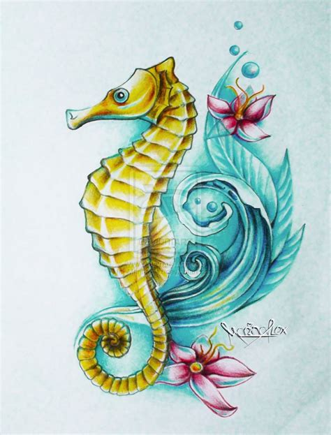 sea horse tattoo feather ideas for color feather peacock