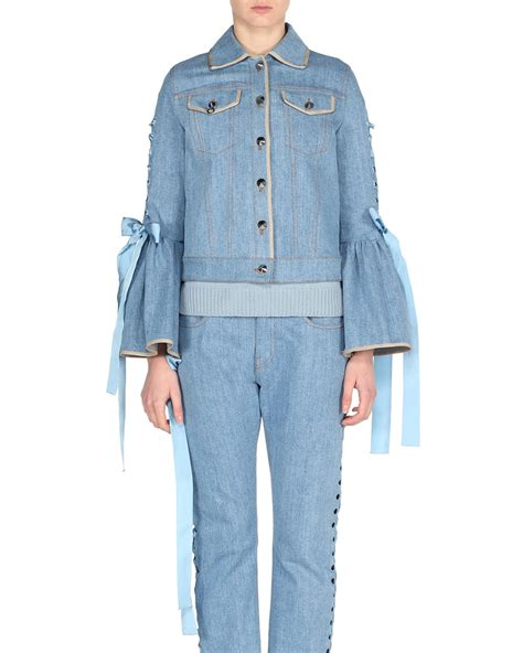 Lace Up Sleeve Denim Jacket fendi denim bell sleeve jacket with lace up ribbons