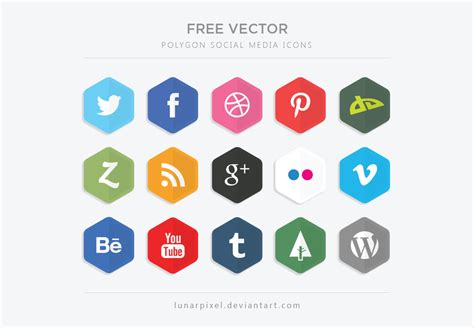 free sosial network icon free vector polygon social media icons by lunarpixel on