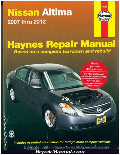 free car manuals to download 2007 nissan altima electronic throttle control haynes nissan altima 2007 2012 auto repair manual
