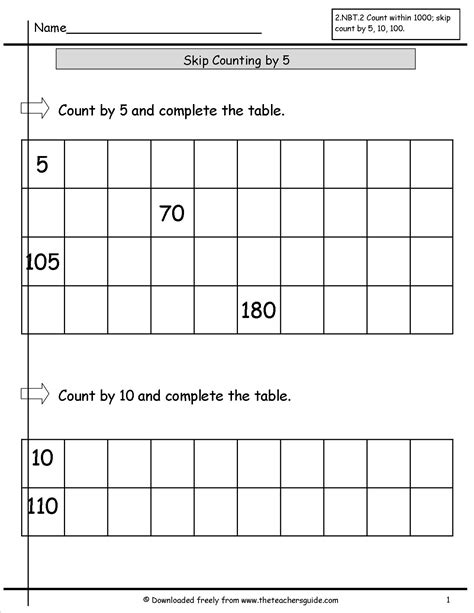 free math printouts from the s guide