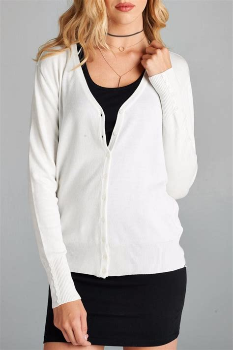 Sweater Wanita Basic White active basic button front cardigan from new york by s boutique shoptiques
