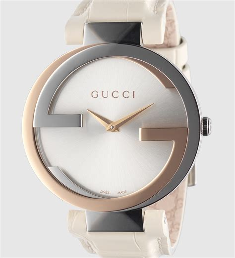 Gucci Rosegold Cover White gucci interlocking large pink gold and stainless steel with crocodile in pink lyst