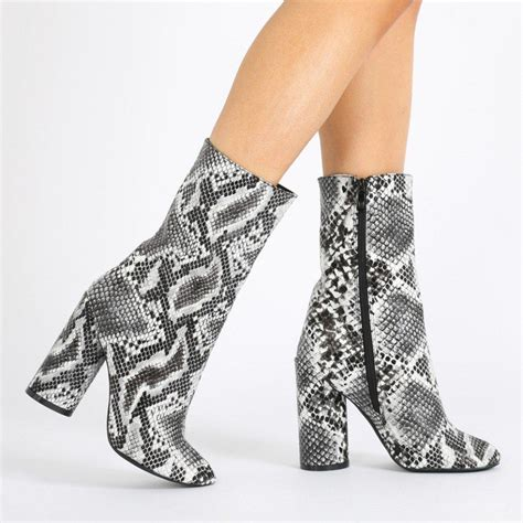 desire elsa snake print heeled ankle boots in