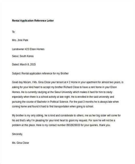 application letter for rental 9 rental reference letter template free word pdf