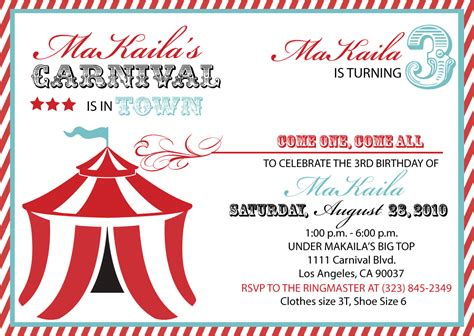 carnival themed invitations templates free 40th birthday ideas carnival birthday invitation template