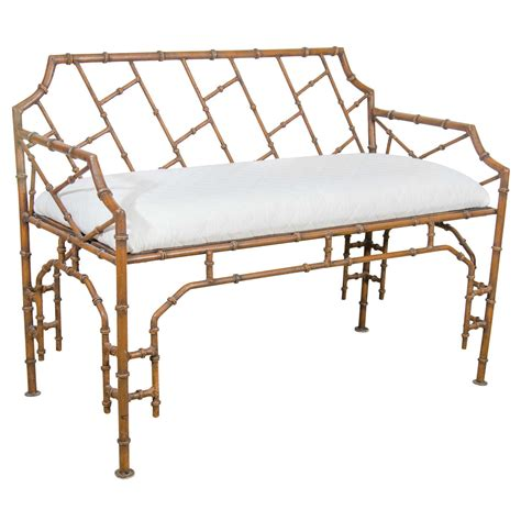 bamboo bench midcentury iron faux bamboo bench at 1stdibs