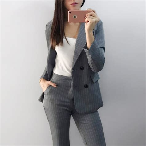Set Breasted Blazer work fashion pant suits 2 sets breasted