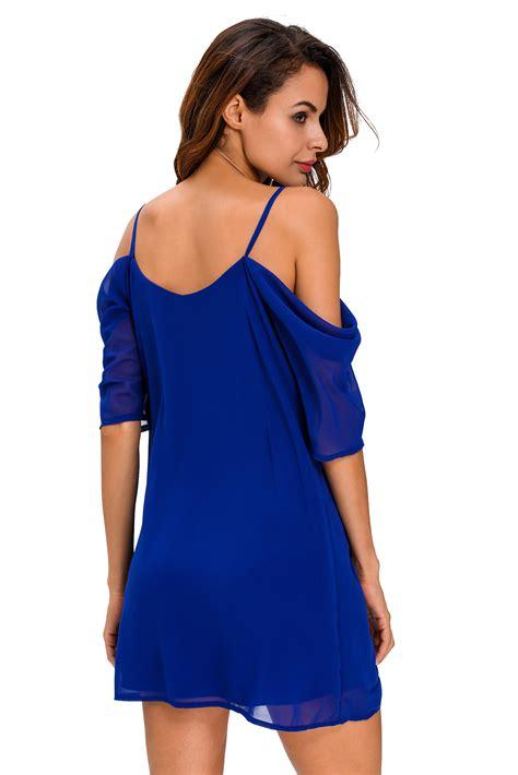 Mini Dress Chiffon fashion royal blue shoulder chiffon mini dress