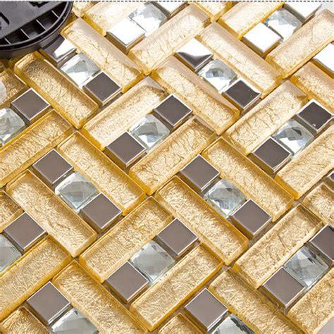 Stainless steel & glass blend metal tile sheets diamond
