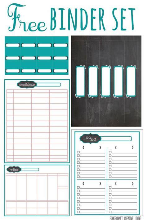 free printable planner set free printable chalkboard labels binders and storage