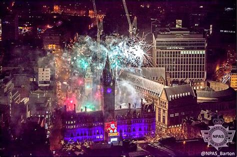 new year manchester fantastic aerial pictures show manchester celebrating on