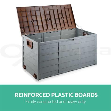 290l outdoor storage lockable box brown weatherproof